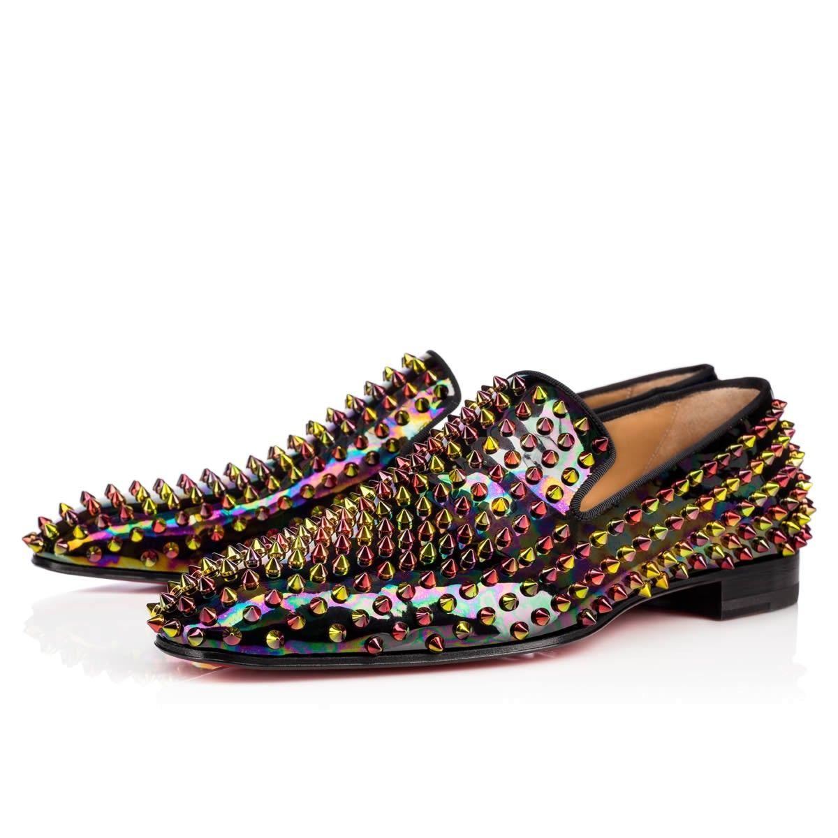 d471d533143 CHRISTIAN LOUBOUTIN Dandelion Spikes Flat Black Gold-Multi Patent Leather - Men  Shoes - Christian Louboutin.  christianlouboutin  shoes