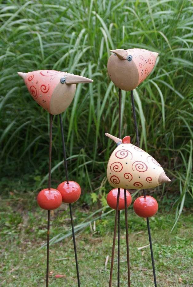 Keramik Keramik Vogel Für Den Garten Frech Und Lustig Ein