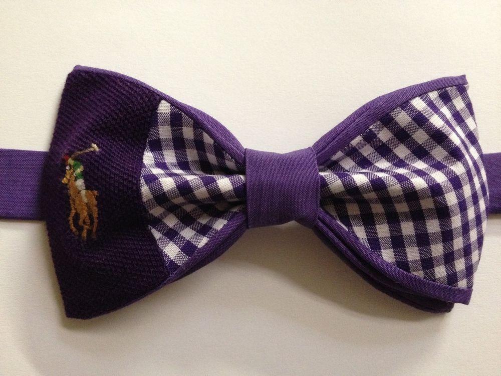 Handmade Mens Bow Tie from Ralph Lauren Polo Shirt Purple  White Check   Must See  Handmade  BowTie 1252bef1897