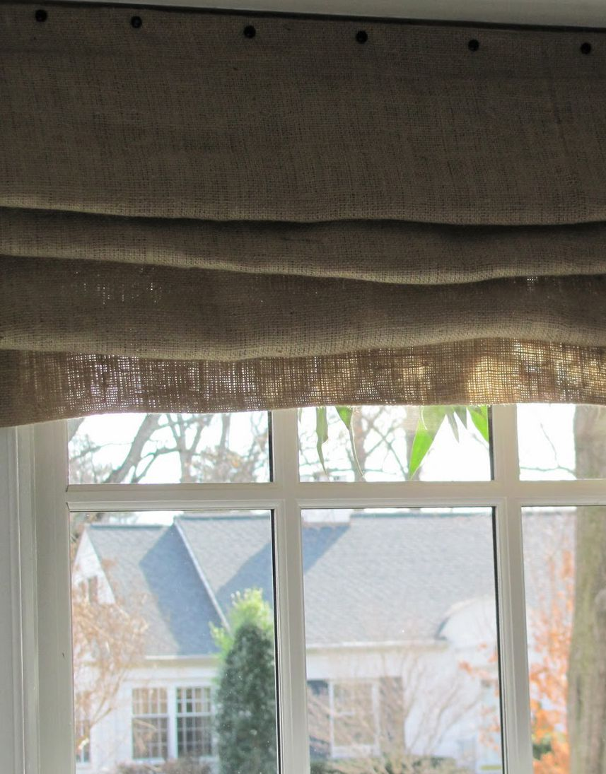 Cottage And Vine Burlap Curtain And Fixed Shade Tutorials Burlap Roman Shades Diy Curtains Burlap Curtains