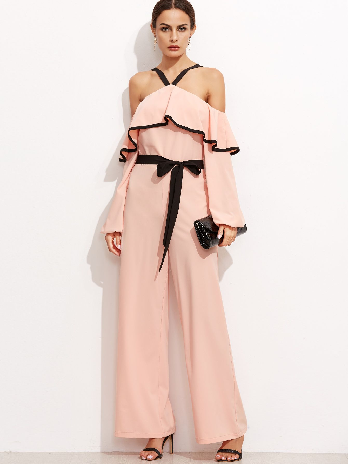 8bbc490c39 Shop Pink Cold Shoulder Ruffle Jumpsuit With Self Tie online. SheIn offers Pink  Cold Shoulder Ruffle Jumpsuit With Self Tie
