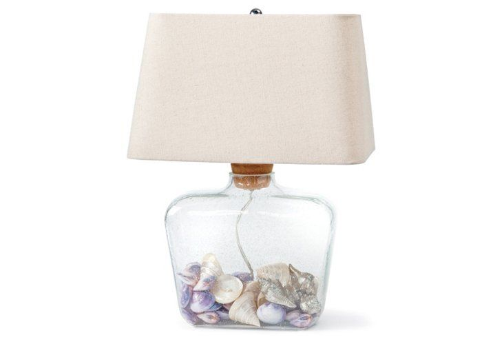 Barn Living · Display Your Shell Collection With A Clear Fillable Glass  Table Lamp.
