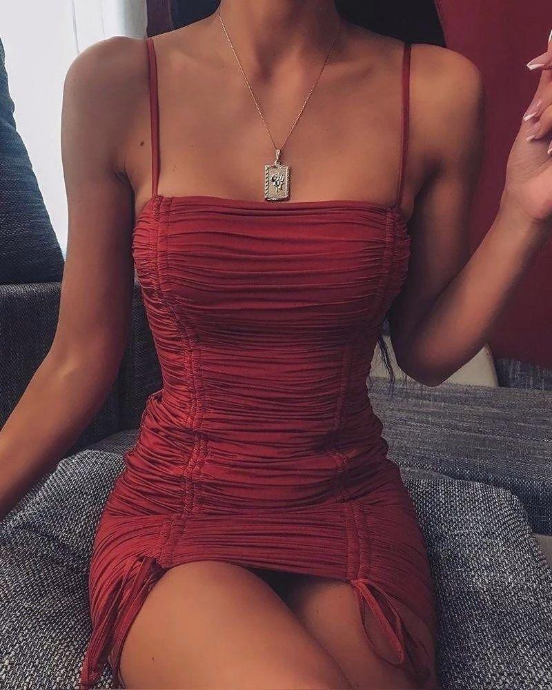Solid bodycon strappy mini dress