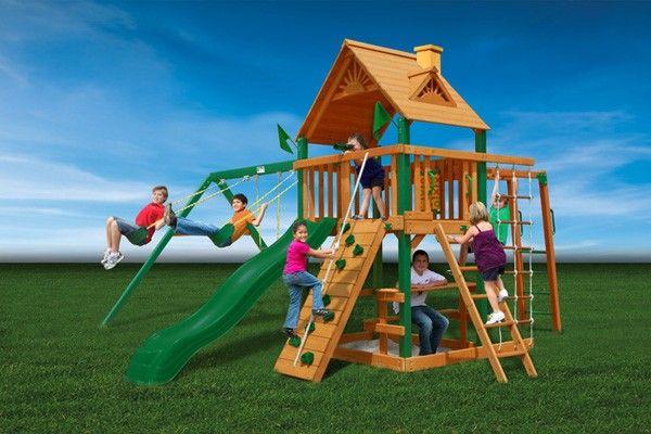 Gorilla Playsets Blue Ridge Navigator Wooden Swing Set Kids Toys