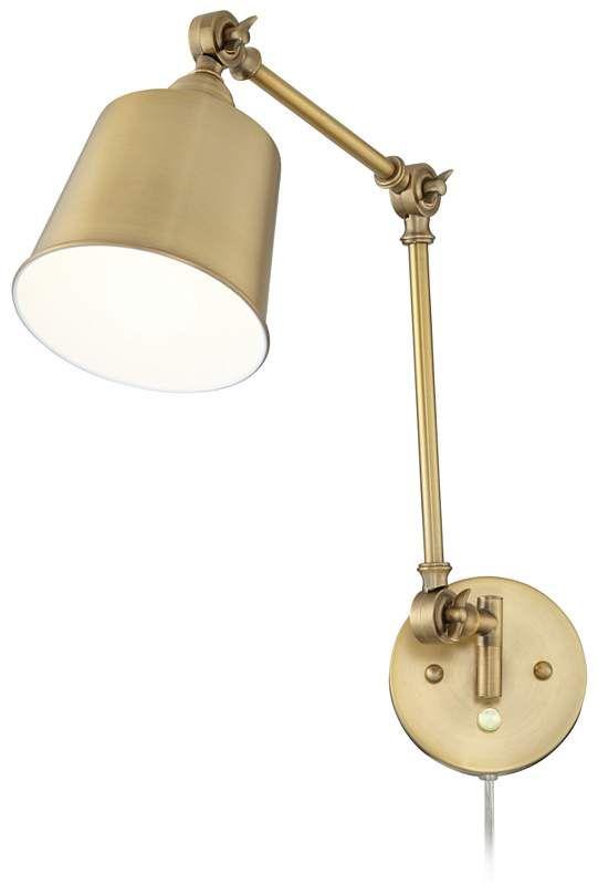 Set Of 2 Mendes Antique Brass Down Light Plug In Wall Lamps 23r80 Lamps Plus Plug In Wall Lamp Lamp Wall Lamp