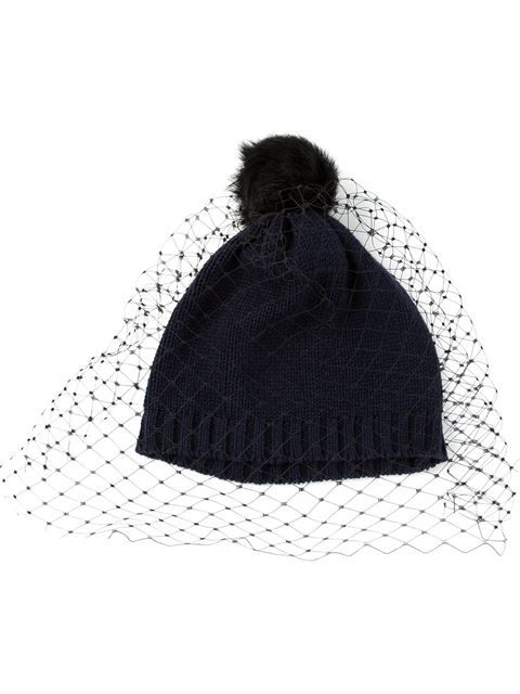 fb44b6f974c1b Shop Bernstock Speirs pom pom veil beanie in Feathers from the world s best  independent boutiques at farfetch.com. Over 1000 designers from 60  boutiques in ...