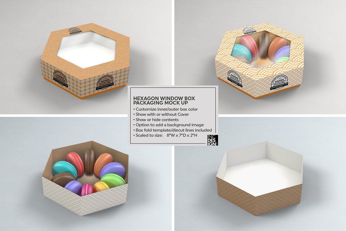 Download Hexagon Window Box Mockup Food Box Packaging Box Packaging Packaging Mockup