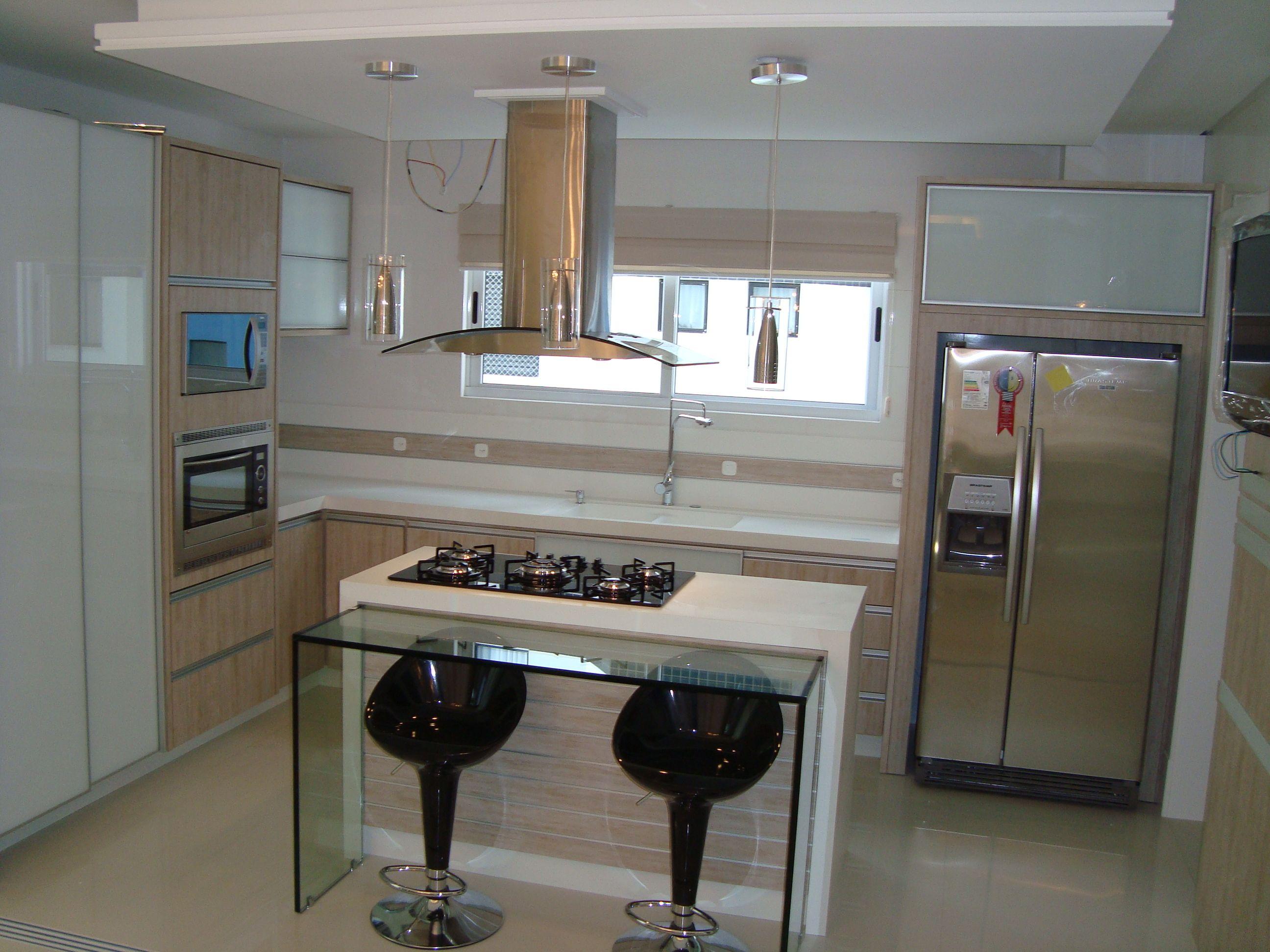 Cozinha Com Bancada De Vidro Coifa De Ilha Ideias Para A Casa