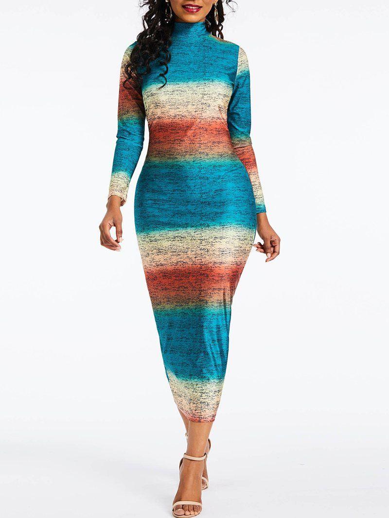 Long Sleeve Mid Calf High Waist Date Night Going Out Dress Striped Bodycon Dress Long Sleeve Bodycon Womens Maxi Dresses [ 1067 x 800 Pixel ]
