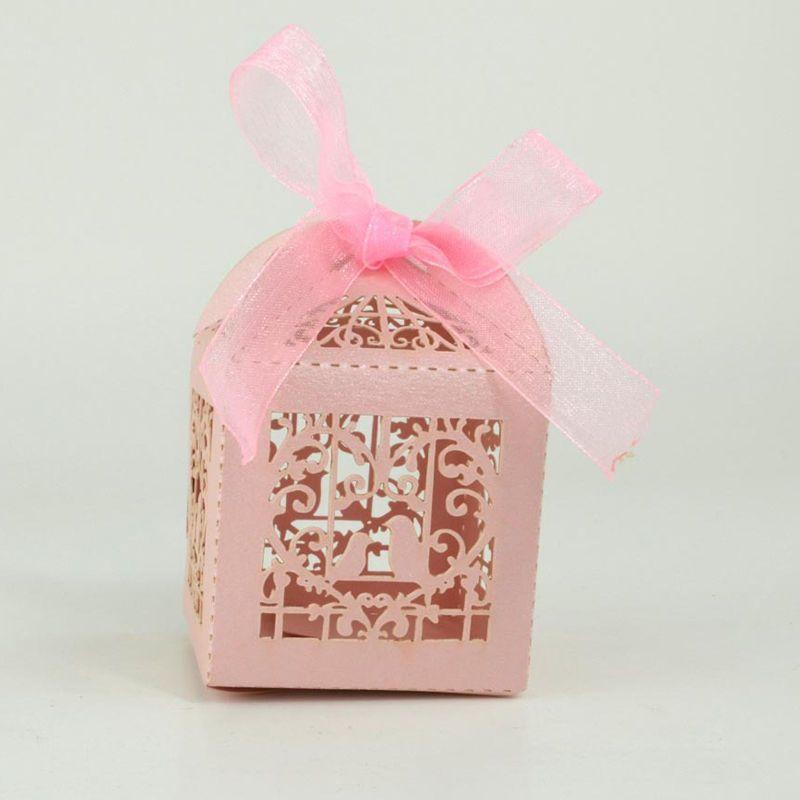 50PCS Bird Cage Love Heart Candy Gift Boxes Organza Ribbon Wedding Party Favor
