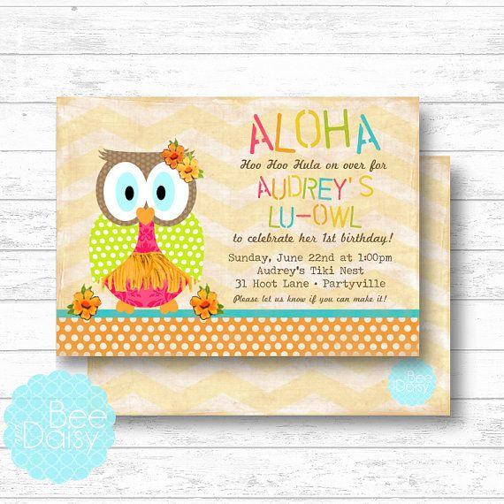 aloha owl invitation next day turn around available printable