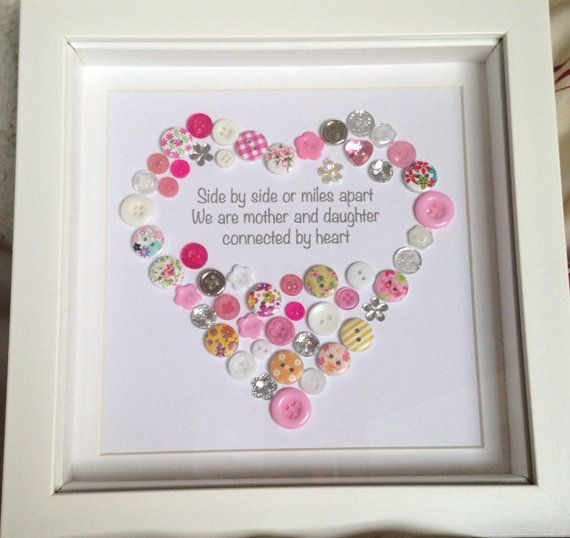Mother Daughter Mum Personalised Heart Button Art Print With