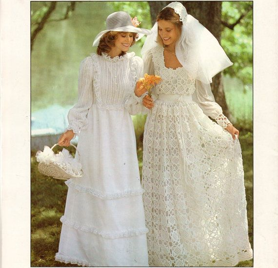 Vintage 70s PDF Crochet Wedding Dress Knitting by ...