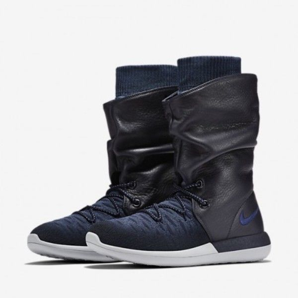 size 40 4df5f 4c632 Nike Roshe Two Flyknit Hi Womens Winter Shoes Outdoor Black Blue 861708-400  NEW  Nike  SnowWinterBoots  WalkingHiking