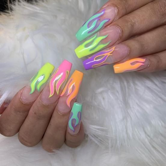 #acrylicnails #neon #acrylic #nails in 2020 | Flame nail art, Neon acrylic nails, Airbrush nails