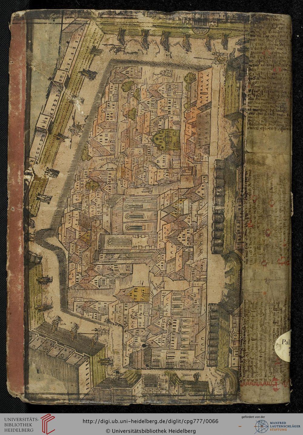 """""""Stadtansicht"""", Historische Sammelhandschrift, 16. Jh., Hinterdeckel, Heidelberger historische Bestände, Cod. Pal. germ. 777"""