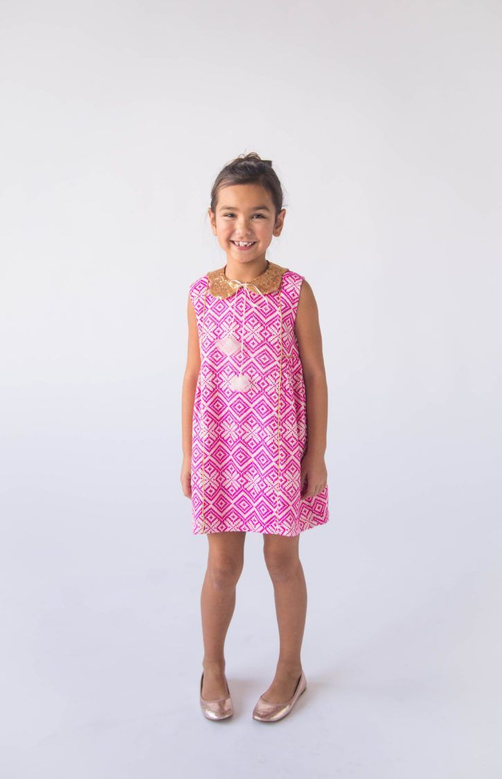 Pink and gold dress for kids  Lali Kids Persimmon Dress  Pink Jaquard with Gold Detail  Products