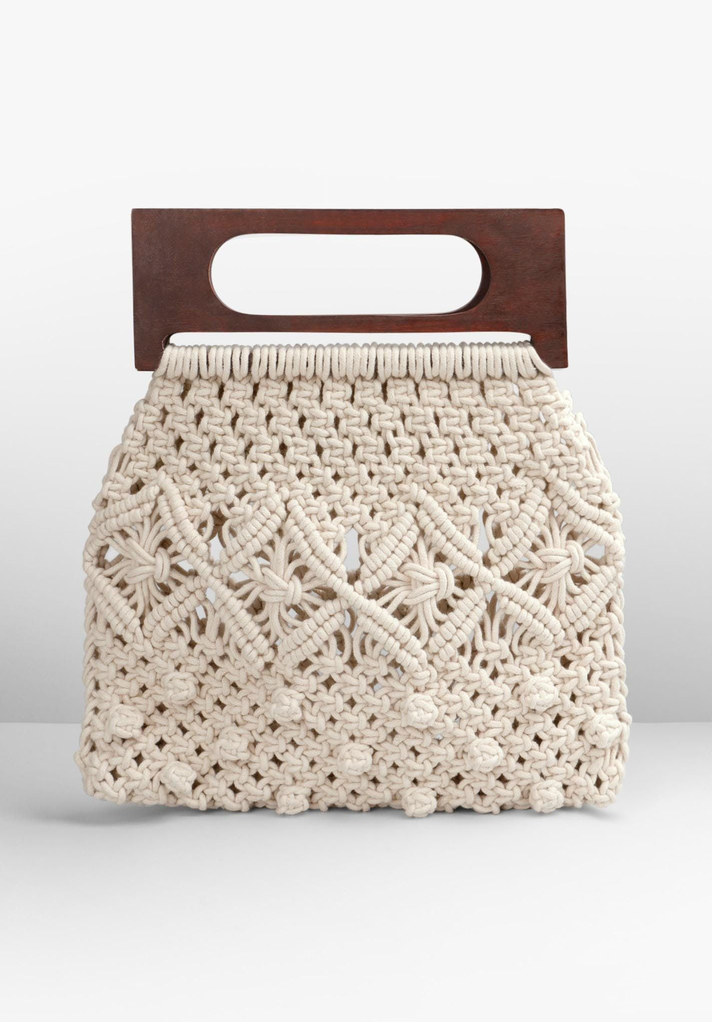 Naxos Crochet Bag Woven Handbag With Wooden Handles Hush Everyday Essentials Products Wooden Handles Bags