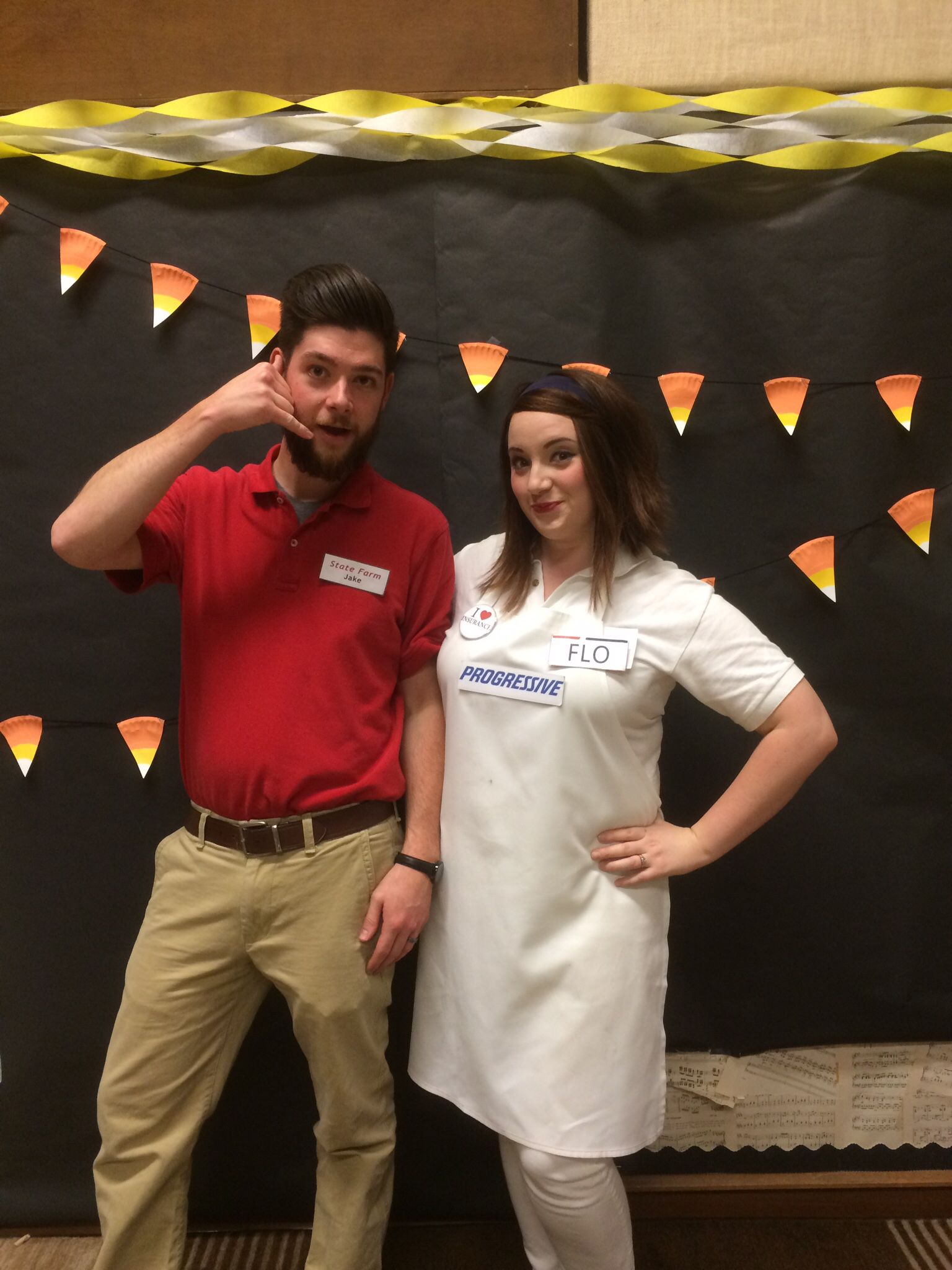 diy couples costume: flo from progressive and jake from state farm