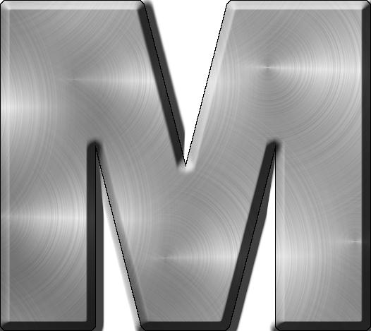 Presentation Alphabets Brushed Metal Letter M Design