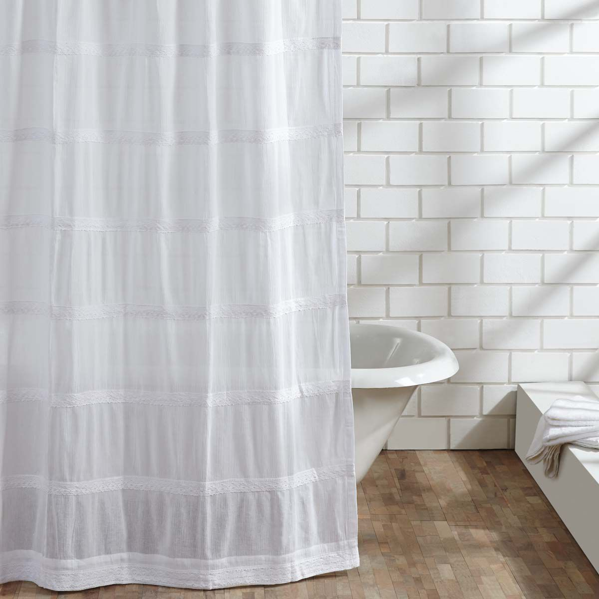 French country shower curtain - Quinn White Old World Charm Lace Shower Curtain