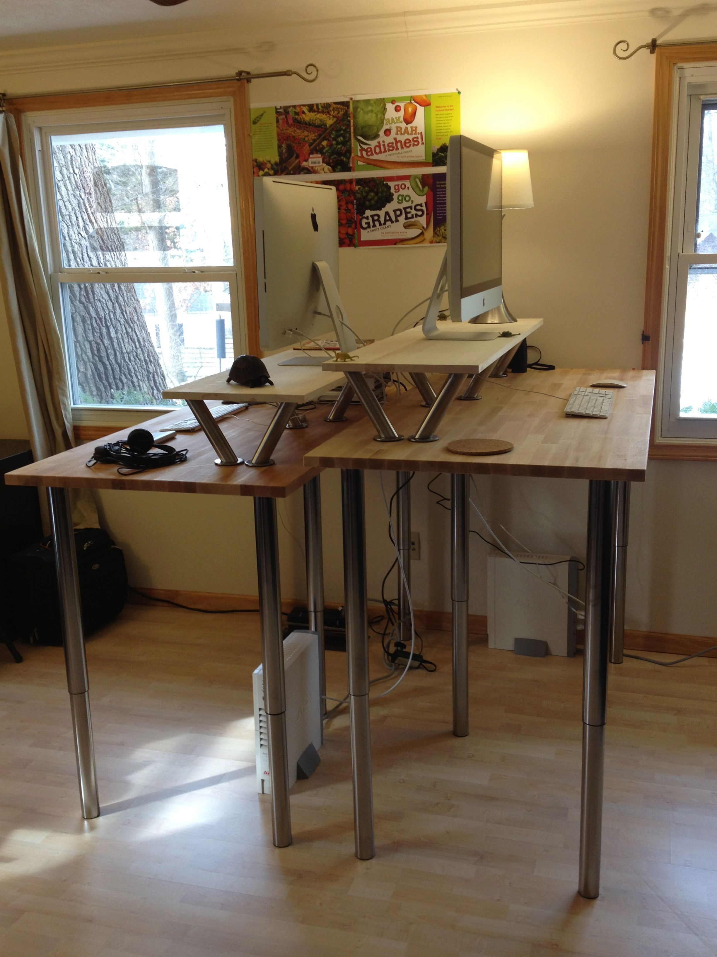 Our Two Standing Desks Customized For Proper Working Height Diy Standing Desk Ikea Standing Desk Tall Desk