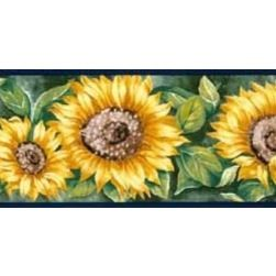 York Wallcoverings Navy Blue Sunflower Wallpaper Border