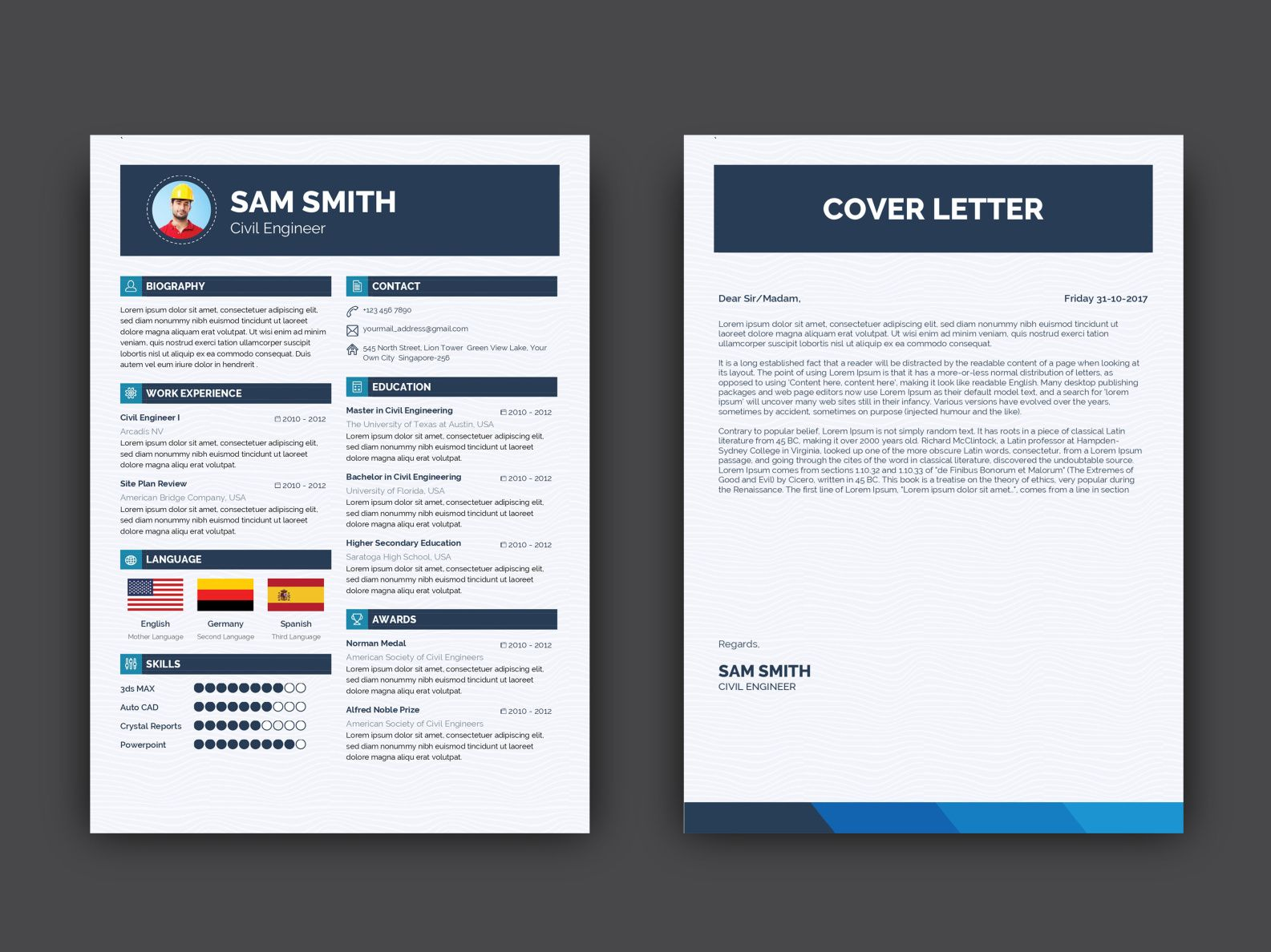 Free Engineer Resume Template With Cover Letter Resume Template Curriculum Template Resume Template Free