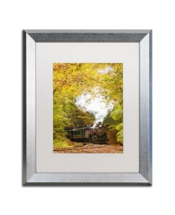 Pipa Fine Art 'Steam Train with Autumn Foliage' Matted Framed Art - 16 x 20 - Multi #autumnfoliage