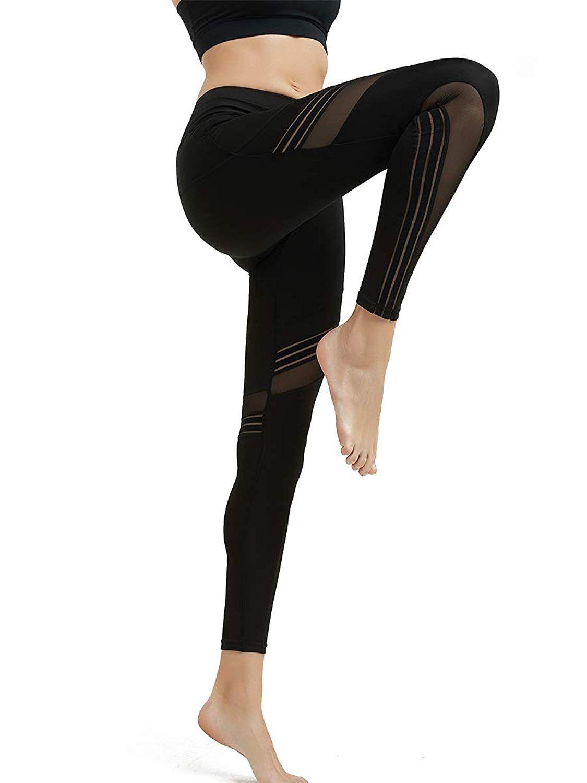 db04acceeac6e6 Amazon.com: MCEDAR Women's Sport Yoga Leggings High Waist Workout Pants  Mesh Tights for Running Jogging Gym: Clothing