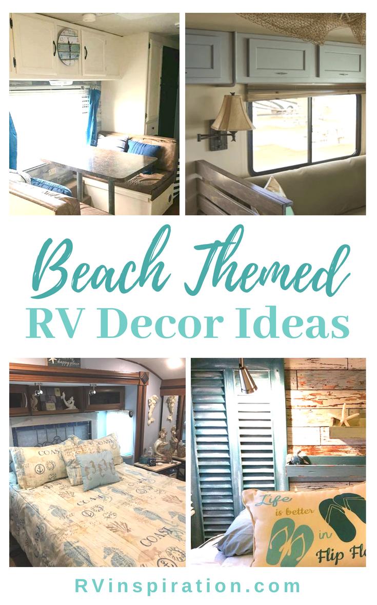 9 Beach Themed Rv Makeovers Camper Decor Rv Decor Beach Camper
