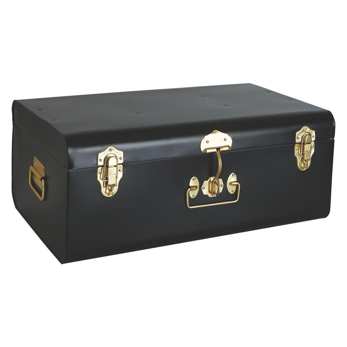 TRUNK Black metal storage trunk | Buy now at Habitat UK  sc 1 st  Pinterest & TRUNK Black large metal storage trunk with gold clasps | Pinterest ...