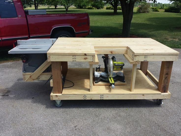 Mobile workbench table saw and miter saw is moveable by for Simple workshop table