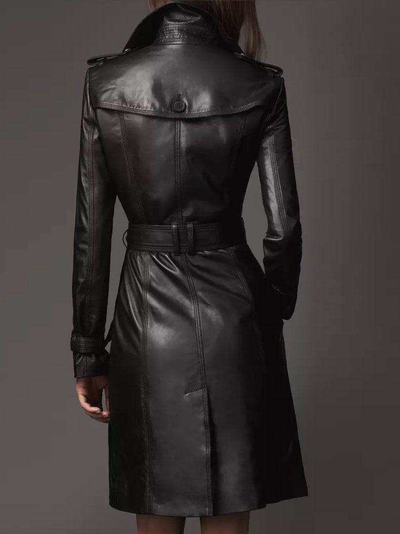 Black Lapel Belted Waist Back Split Longline Pu Trench Coat Abaday Leather Jackets Women Trench Coats Women Long Leather Coat [ 1080 x 810 Pixel ]