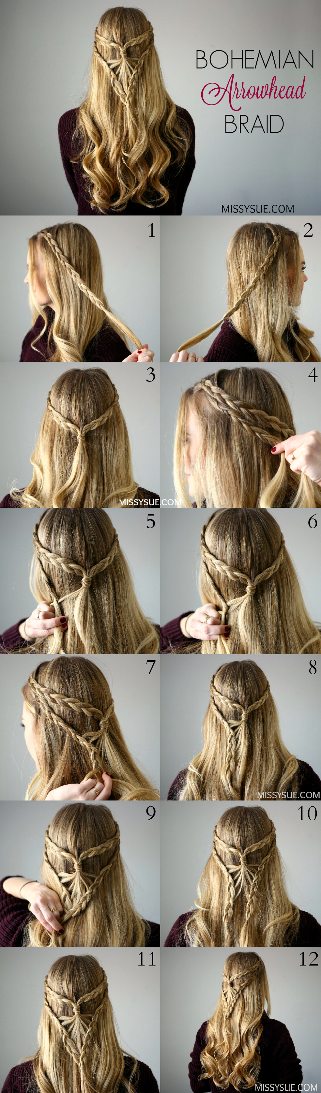 Bohemian Arrowhead Braid Tutorial Braided Hairstyles Tutorials Braided Hairstyles Easy Hair Styles
