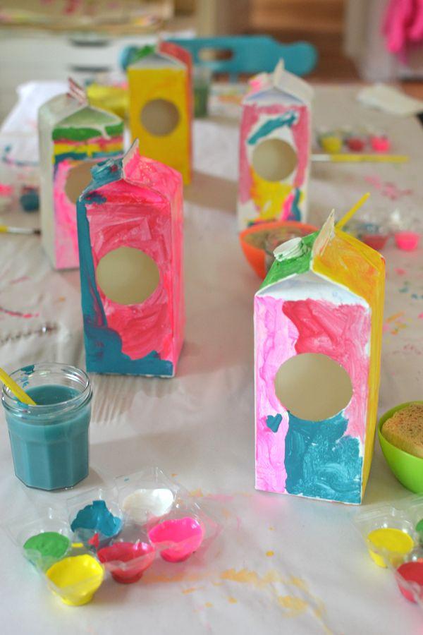 Milk Carton Bird Houses Making Art With Children Crafts For Kids