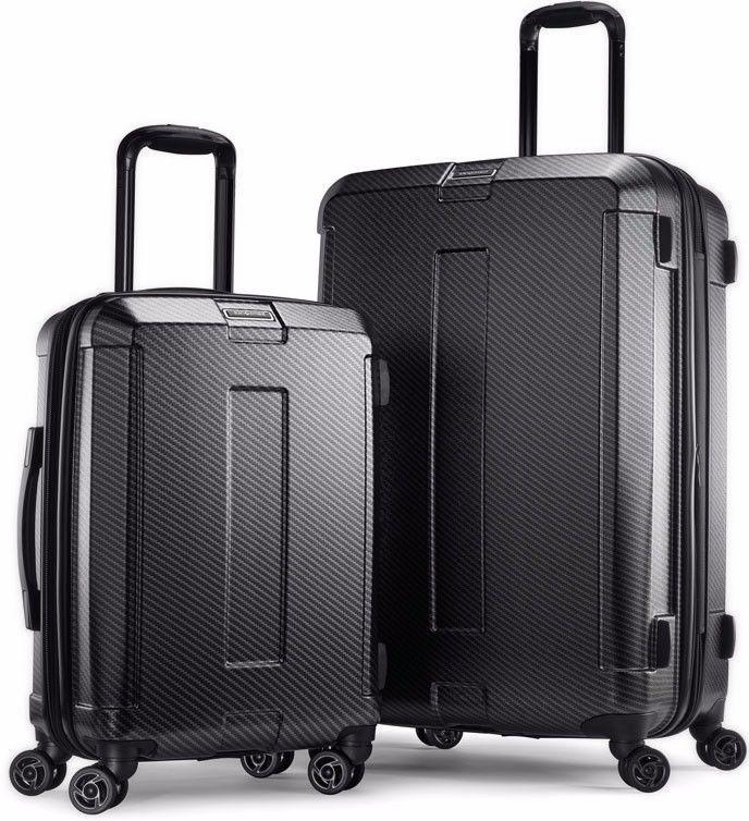 f69910b24d5 Samsonite Carbon Elite 2 Piece Luggage Set Travel Suitcase Cabin Bag Spinner