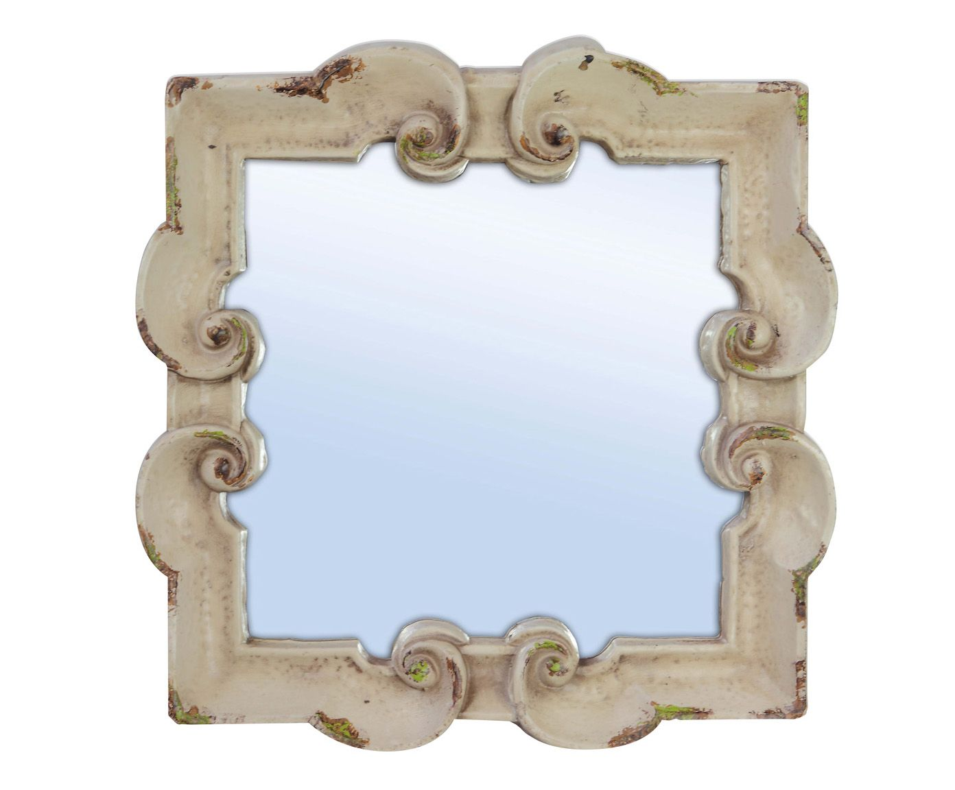 Зеркало - полистоун - кремовый - 32x32x3 см   Westwing Интерьер & Дизайн