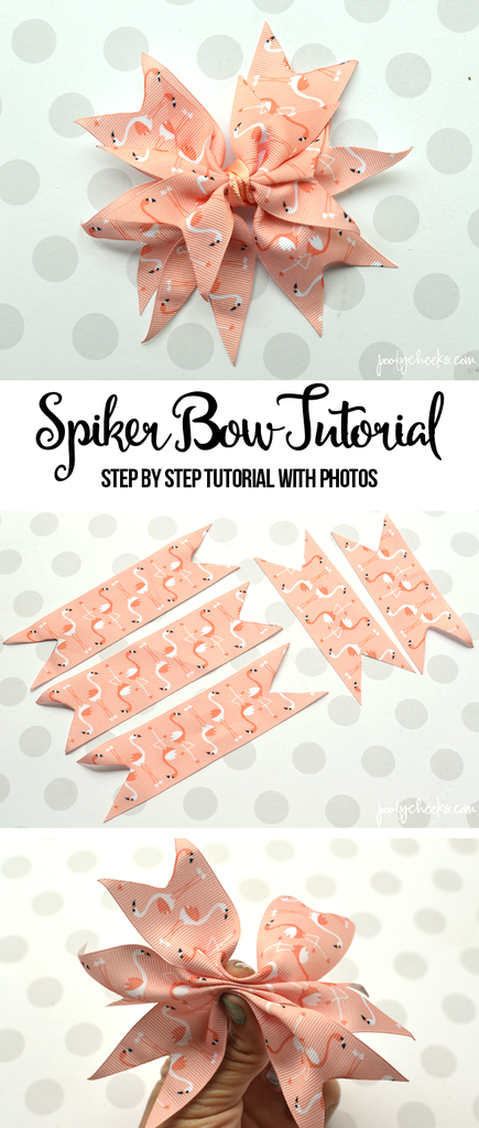 Spiker Bow Tutorial with Step by Step Photos #ribboncrafts