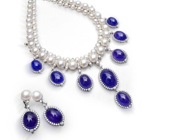 Farah Khan Fine Jewelry Tanzanite Necklace And Earrings