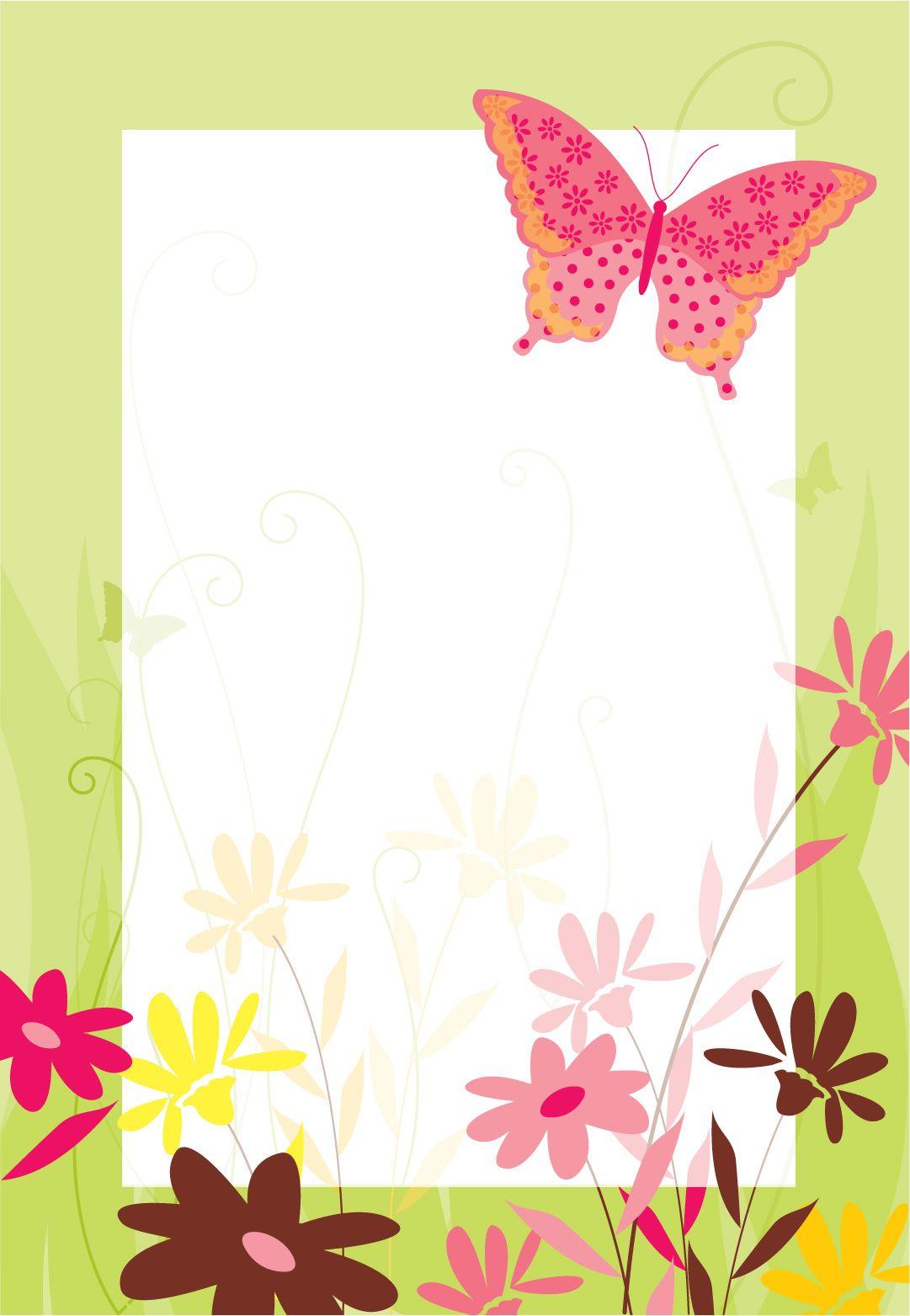 Flores Y Mariposa Invitación Destacada Para Imprimir
