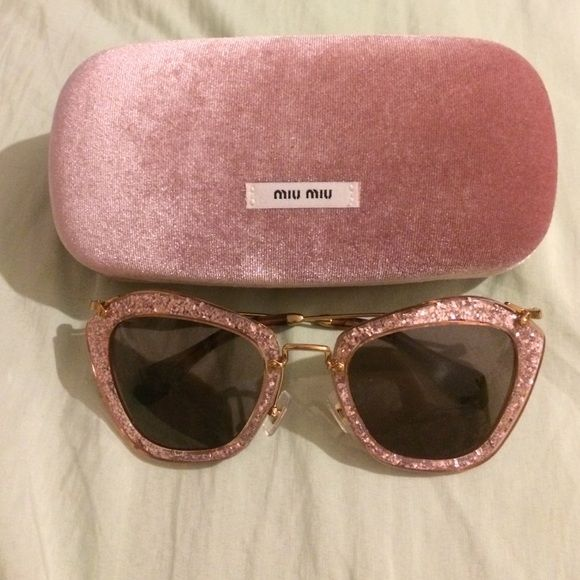 fa86aeb4b4e8 I just discovered this while shopping on Poshmark  MIU MIU pink glitter cat  eye sunglasses. Check it out! Price   325 Size  OS