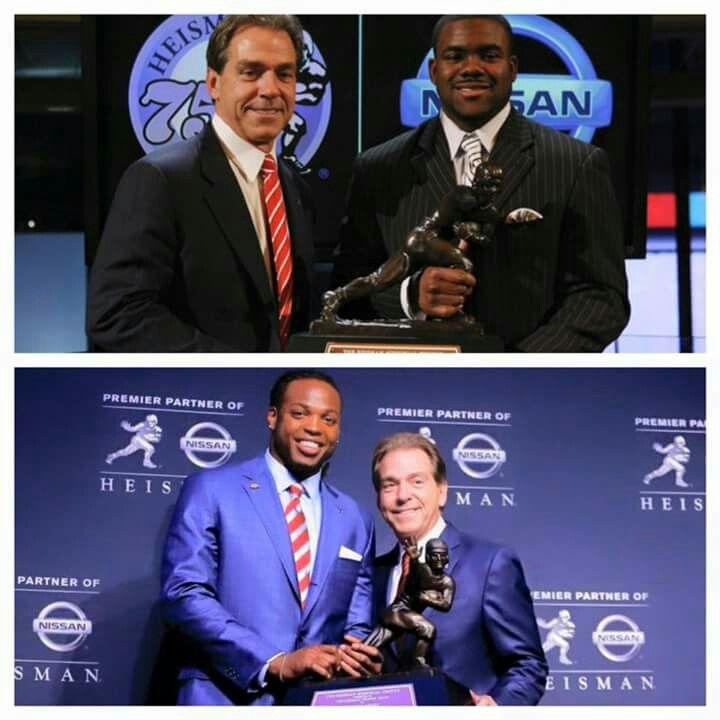 Nick Saban with Alabama's Heisman trophy winners, Mark