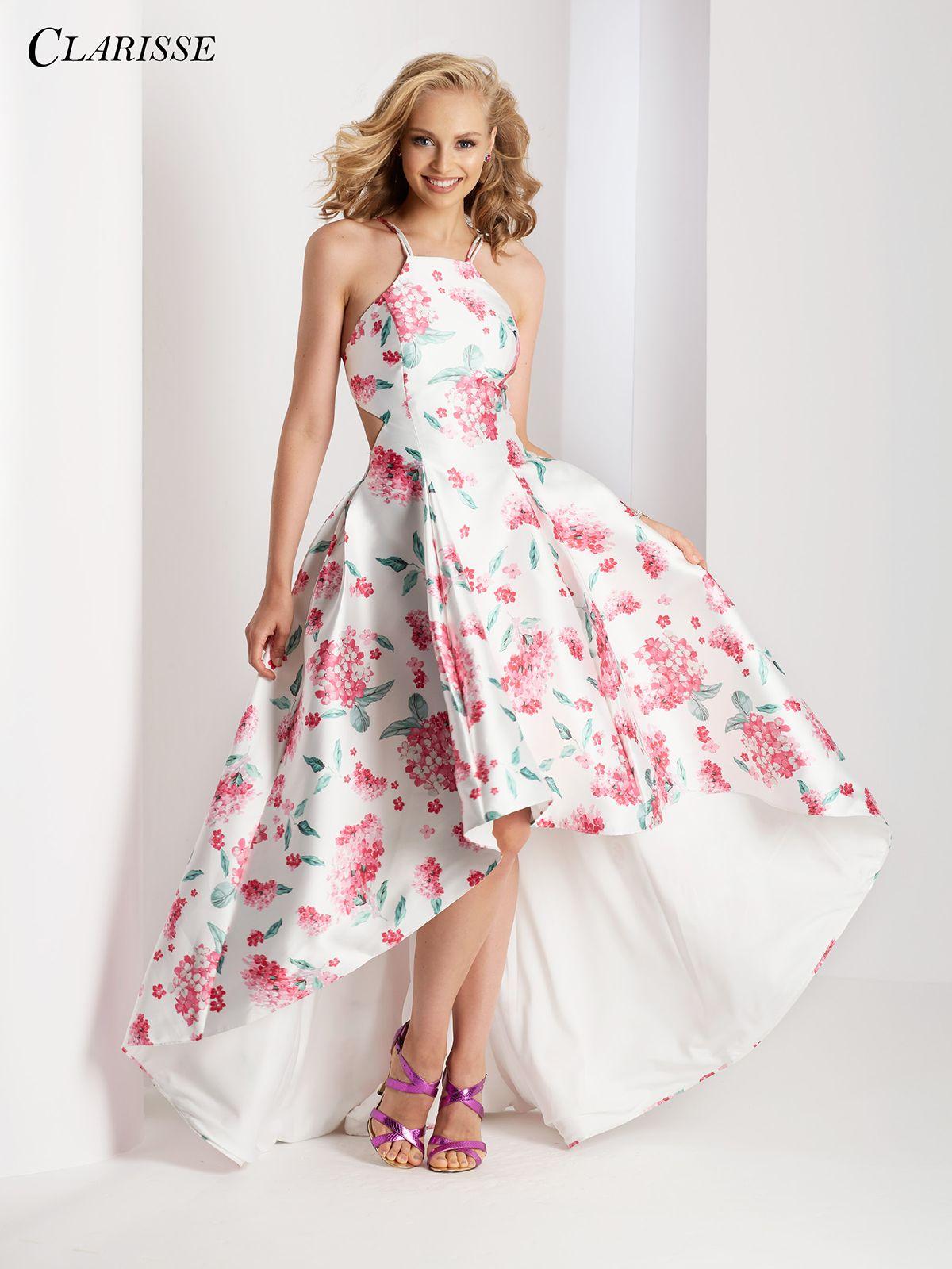 Halter High Low Floral Prom Dress 3564   Floral prom dresses, High ...