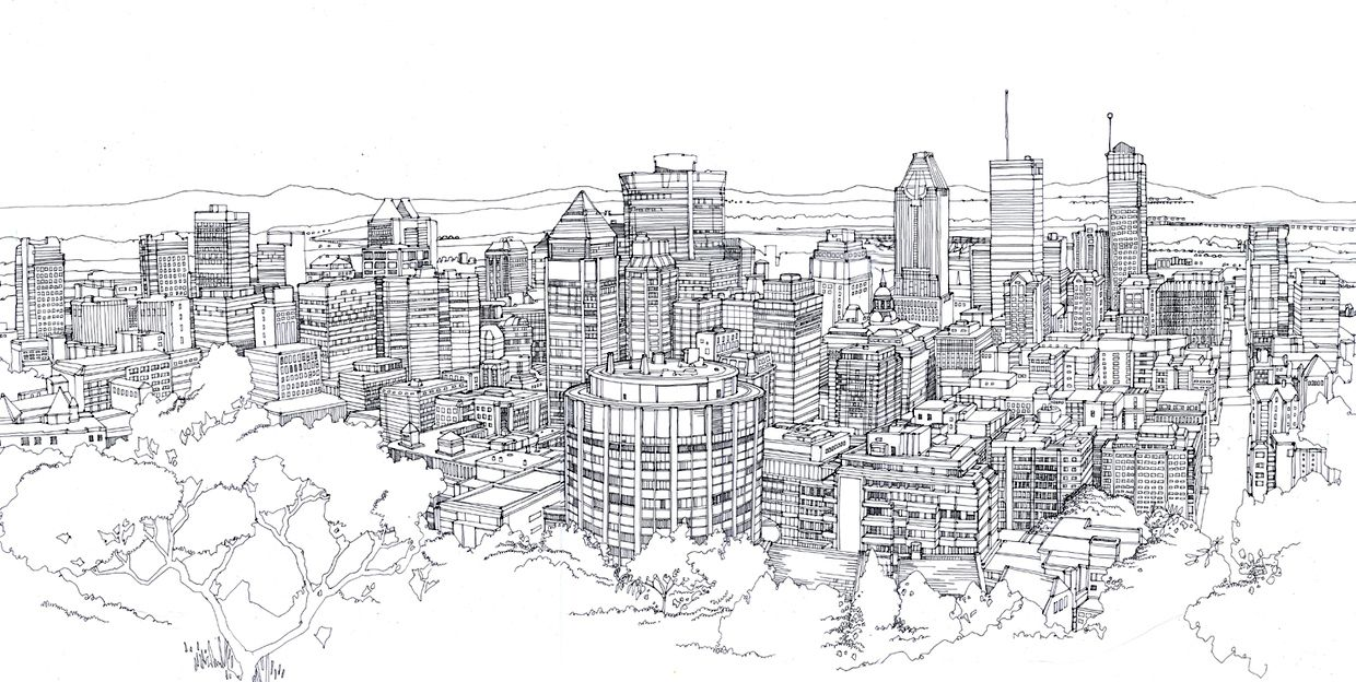 Cityscapes Panoramas Landscape Drawings City Drawing Landscape Sketch