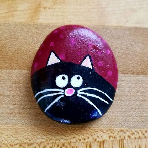 Northeast Ohio Rocks Gemalte Felsen Kitty Cat no Miniaturgarten Idee   #Katzen