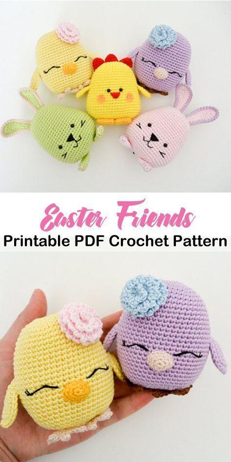 Make cute Easter buddies. This is a beginner crochet pattern. Beginner Amigurumi…