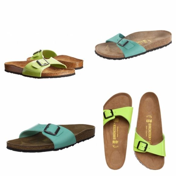Birkenstock Madrid slide sandals unisex 100% authentic Birkenstock slide sandals. It's a light green leather strap. The first picture is a few of them that are similar colors, but aren't the exact shade of the ones I am selling. Adjustable strap. Unisex, listed UK 40, ladies 9 and men's 7. Made in Germany. Unique color, very hard to find this exact color. So comfortable and tons of support. Only worn a handful of times, do show some wear as shown but tons of life left! Great shoes, price is…