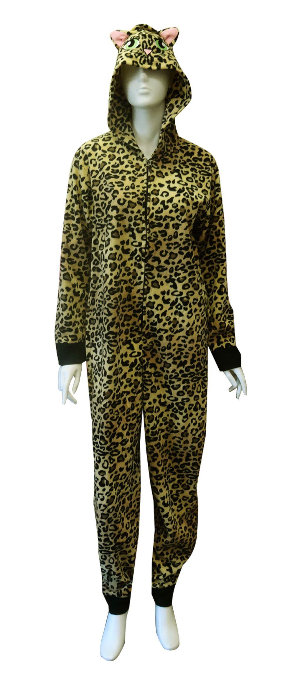 Jungle Leopard Print Hooded Onesie Footed Pajama Adult
