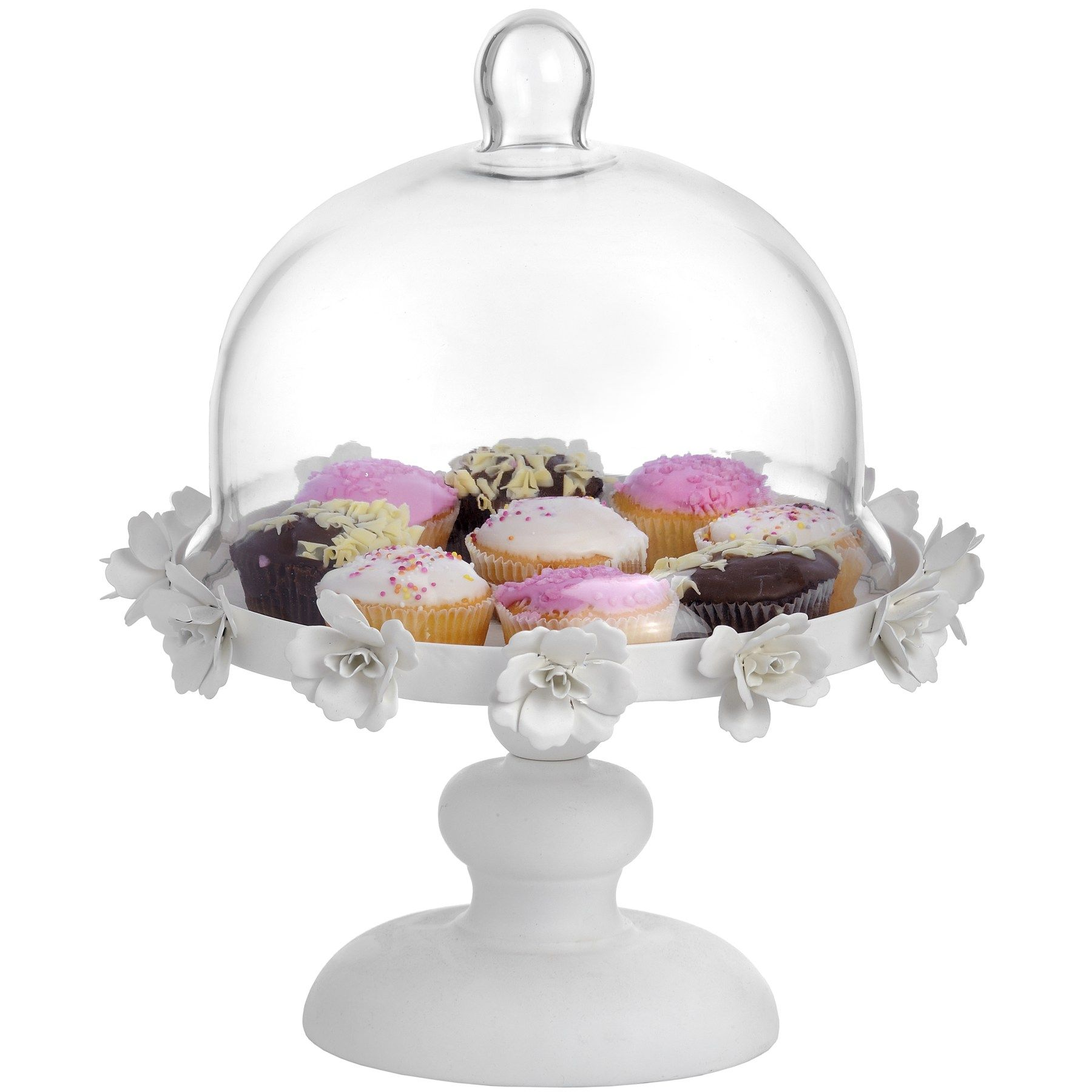 Antique cream cake stand with floral detail and glass cloche